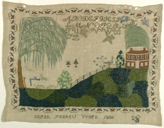 A house on top of a hill which rises to the right, with weeping willow trees and other trees, a fence, sheep, a peacock, flying birds and an alphabet; surrounded by an angular strawberry vine border.