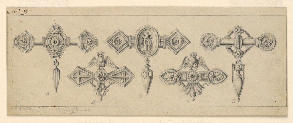 Drawing, Five Brooches, ca. 1869