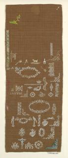 Detached motifs: Holy monogram. Crucifixion, birds, hearts, flowers with Greek fret.