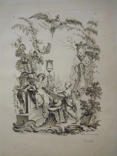 The female figure seated against a stone or marble garden structure, a bird peering down to her right; a cat sits between the female figure and her servant. Two large urns placed over tall sloping pedestals in the background. A large bird flies overhead.