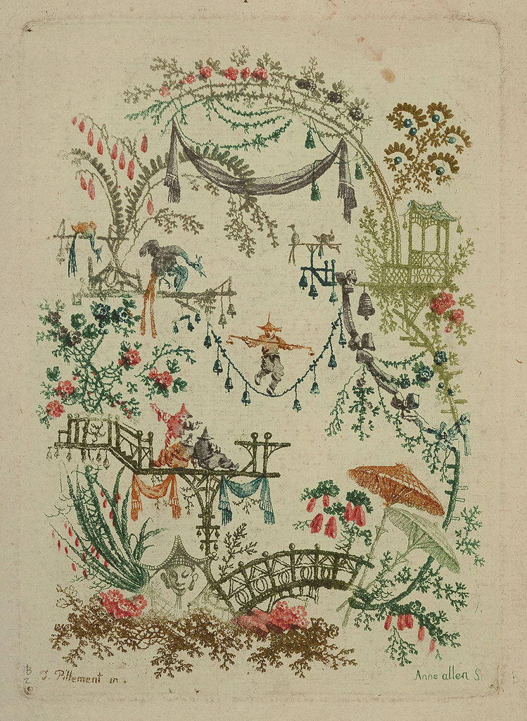 Irregular cartouche composed of trees, bridges, and fantastic foliage executed in the chinoiserie style. A small figure balances on a bell laden rope suspended between two platforms at center. A group of three figures watch the performance from a draped bridge at lower left.