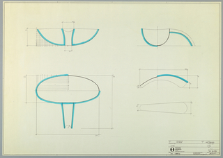 Drawing, Design for Silver Fruit Bowl:  Estro