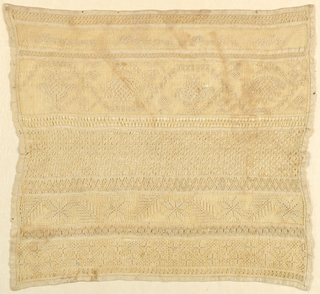 Eleven bands of pattern including a dated signature, all in white withdrawn element work.