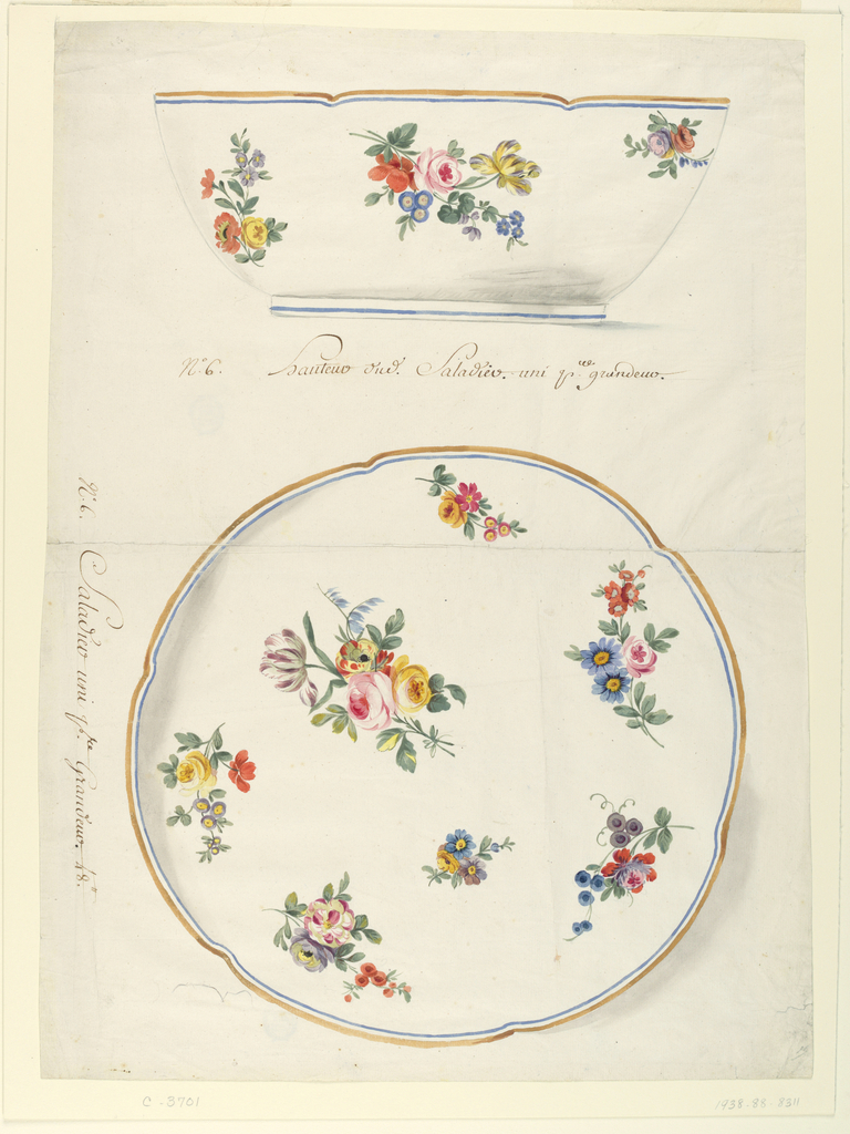 Salad bowl in elevation (above) and plan (below) with slightly scalloped border painted in gold and blue.  Interior and exterior of bowl decorated with scattered sprays of flowers including roses, irises, and tulips.  Some shading above the foot of the bowl (in perspective view) and at left and lower right of interior view.