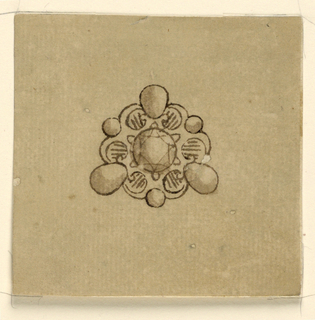 Jewelry design for a brooch. A round diamond is framed by scrolls, forming something like three clips, supporting upon their cusps a small round and in their intervals a big pea-like diamond.