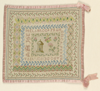 Temple and flowers framed within the inscription, with a wide border of geometric and floral pattern bands. All edges bound with pink silk ribbon.
