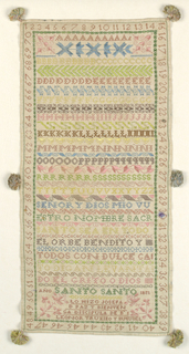 Long vertical rectangular sampler, with multicolored bands of alphabets, geometric patterns, religious verse, and inscription, surrounded by a frame of numerals. Trimmed with six green tassels.