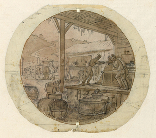 Design for a painted porcelain plate, probably for the Service Agronomique. A scene in the courtyard of a vineyard.  On a raised platform under a shed roof, four men appear to be pushing an object toward the edge of the platform; in the courtyard, a man carrying a wicker basket on his back is walking away from a cart presumably carrying grapes [?].  A road between two hills winds away into the left distance.