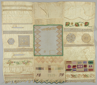 Sampler divided into three vertical panels. Panel at left: bands of withdrawn element work with overcasting, cross, herringbone and running stitches; insertion of woven tape; looping and buttonhole stitch (placket); insertion of woven rick-rack and tape; insertion of embroidery (looping and running stitches) and cutwork with needle-made fillings; insertion of crochet and woven tape; looping and buttonhole stitch (placket): insertion of folded woven tape: panel of embroidery (buttonhole, back feather stitches): insertion of gathers: bands of withdrawn element work with overcasting and running stitches alternate with fether and herringbone stitches: fringe. Cenral panel (from top): panel of mended knitting (squares cut out and discarded): knitting patterns: embroidery on machine-made net (running, satin, and looping stitches) plus patch  cut out and reinserted and darned hole: band of embroidery (double running): darning sampler (center of crossed cut out): and eyelet stitch: scalloped edge (buttonhole, stem,, satin, double running). Patches and curved hems: band of embroidery (chain, running, knots, satin, double running): insertion of machine-made lace and looping: insertions of a crocheted medallion made of woven rick-rack and looping: insertion of two rows of hairpin lace (looping) crocheted together: applique of braid: canvas work (satin, running, eyelet, back, upright Gobelin, chain, cross, half cross, Roumanian, herringbone): panel (satin, stem, tied back, bullion knots) lace border made of two machine-made tapes and crochet.