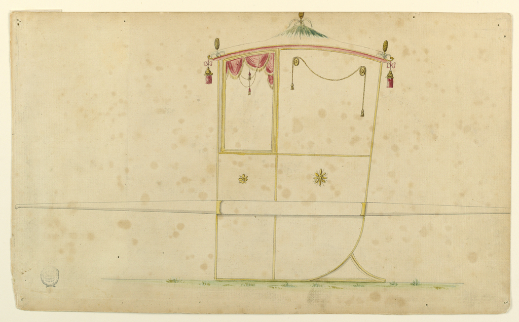 Shown in profile, turned toward left, with one bar. Corn cobs stand in the middle and at the corners of the roof, the first one seemingly in a meadow. Tassels hang from the corners. The panel beside the window is decorated with a cord with two tassels hanging over two disks. The lower panels have single blossom rosettes in their upper parts. The left end of the bar is shown; it is without a mounting.