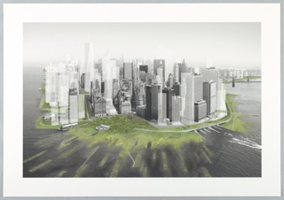 A schematic view of lower Manhattan showing additional shoreline in different shades of green. Outer and inner dotted lines.