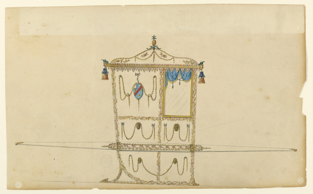 "Shown in profile turned toward right with one bar. A pineapple stands on top of the vaulted roof which is decorated with festoons and other floral ornaments. It is bordered by rows of leaves. Masks are at the corners from which the tassels hang. The panels are framed by intertwined branches. That beside the window shows an ovoid with a coat of arms hanging between festoons from a bow knot; azure bandlet sinister scarlet between three bezants 1, 2 a gyron white, ermine. Garlands dragging over disks decorated the other panels. The bar shows and oblong somewhat broader than the chair; it is framed by garlands and contains a ""running dog"" of leaves."