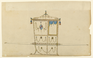 """Shown in profile turned toward right with one bar. A pineapple stands on top of the vaulted roof which is decorated with festoons and other floral ornaments. It is bordered by rows of leaves. Masks are at the corners from which the tassels hang. The panels are framed by intertwined branches. That beside the window shows an ovoid with a coat of arms hanging between festoons from a bow knot; azure bandlet sinister scarlet between three bezants 1, 2 a gyron white, ermine. Garlands dragging over disks decorated the other panels. The bar shows and oblong somewhat broader than the chair; it is framed by garlands and contains a """"running dog"""" of leaves."""