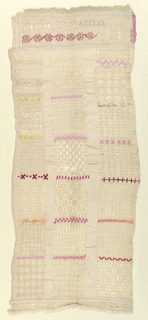 Sampler with many small rectangles of drawnwork patterning interspaced with lines of silk embroidery.