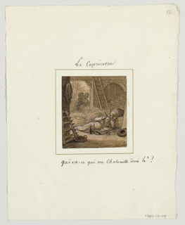 "Design for a painted porcelain plate, square format. Scene inside a barn.  Figure of a man lying on the ground, center middleground, leaning on his left arm, while holding his head with his right hand. Two wine bottles are next to him, his hat, right foreground, is to his left. Behind him a goat in his stall nuzzles the back of the man's head.  The man exclaims, ""Who is tickling me there?""  An amorous couple, left background, stand in the doorway."