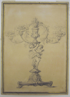 The royal French coat-of-arms is on the base. Two putti carry a bracket on which stands a vase. The branches and flower boughs spring from a volute on top of the vase. Fleurs-de-lis rise from the volute.