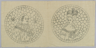 Printed pattern for cut fabric embroidery. Design is of two medallions, Louis XVI and Marie Antoinette.