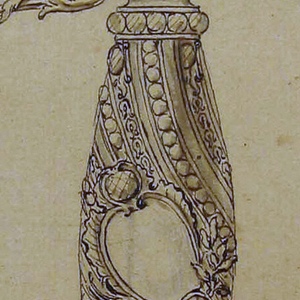 The guard enriched with diamonds on grip, pommel, guard, quillion and ricosso which has the shape of a balaster. Guard, quillion and pas d'arc are formed by leaves which are held together by garlands.