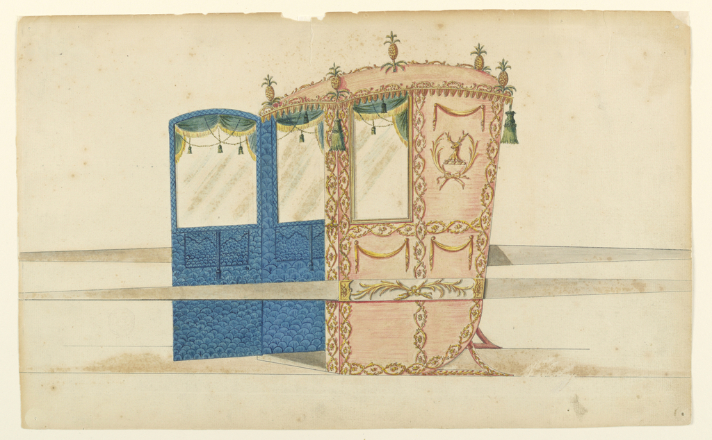 Shown from the left front corner with opened door, directed toward left. The walls of the interior are blue. The window curtains are green with golden fringes. Upon the roofs are five fine apples. It is bordered by standing scrolls. Green tassels hang from the corners, rows of leaves from the rims. The outside panels are framed by pairs of entwined branches. That beside the window shows two crossed palm branches framing the neck and head of a stag. Above is a drapery festoon like those in the lower panels. The bar shows two crossed palm branches.