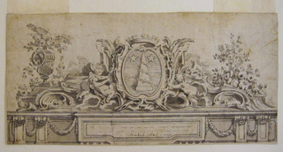 In the scheme of an entablature and a pediment. Putti decorate an escutcheon with a device. An obelisk is depicted with a garland wound around it. Two stairs are shown as well. Depicts coat of arms of architect Carl Harlernan, friend of Meissonnier.