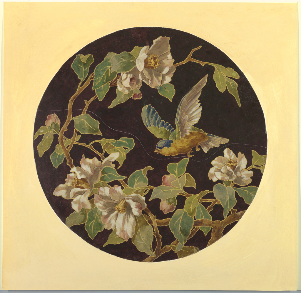 Drawing, Plate Design with Bird and Flowers, 1875–85