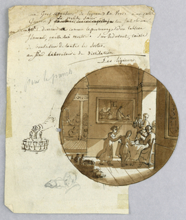 Design for a painted porcelain plate, rondel. Scene in a liquor shop. Figures of people seated at a table, right middleground, being served by a waiter who holds a tray with decanters and glasses of liquor.  On the wall, center middleground, a Flemish tavern [?] interior depicting a waitress with a drunk man on the floor.  A case of liquor bottles is on the floor, left foreground. The distillation process takes place in a rear room, left background. In left margin center, a sketch of the waiter's arm holding the serving tray; lower left margin, a rough sketch of woman's head and right arm.