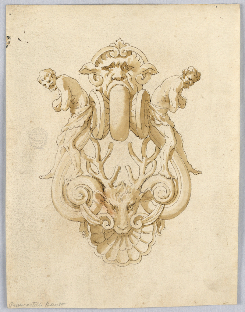 Grotesque design for a doorknocker with two bearded men, a mask and stags head.