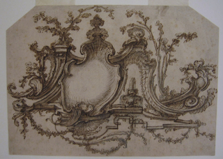 The right half is shown. Rocaille framing, with a standing swan.  Water springs from swan's beak and pours at right.