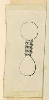 Jewelry design showing the connection between the disk and the drop of an earring. A spiral of a ribbon with two small disks in the intervals. The disk and the drop are outlined.