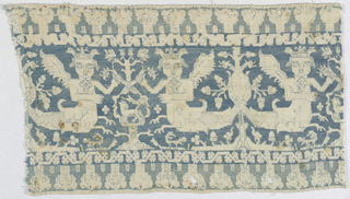 Fragment showing scorpion, mermaids winged with crowns holding on to a flowering tree, and a border of human heads. In blue silk on linen ground.