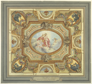 Rendering of a painted ceiling: Apollo personifying poetry - horizontal rectangle - in the centre, an oval medallion showing Apollo seated on a cloud bank playing his harp and attended by three putti - the enframement consists of four trophies of military subjects, flower garlands, medallions at the corners, and simulated apertures open to the sky, in which stand urns.