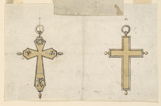 Two jewelry designs for cross pendants. At left a cross with hexagonal arms. On the interior of the cross, images of the instruments of the Passion: on top the crown of thorns, at left three nails, at right three dies, at bottom pincers and hammer. On top a vine with a larger one above, in the middle of the outer sides of the other arms a grenade. At right, a plain cross, framed by moldings; at the outsides of the arms a ball; above a ring. Construction lines in graphite. Stabbed for copying.