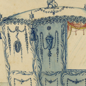 Shown from the left front corner with two bars. On top of the roof sits a griffin in a wreath. Fantastic masks in the shape of urns stand at the corners. They are connected between each other by a cresting. Lambrequins hang downwards, as do tassels at the corners. The panels are framed by reed rinceaux. That beside the window is decorated with an urn surrounded by festoons. In the other panels hang festoons. A disk with superimposed garland hangs between them in the upper part of the back. In the lower panels are rosettes below. The mountings and the decoration of the bars are shown. The signature and the date, the latter in the foot have been erased.
