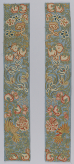 Pair of sleeve bands embroidered on blue silk with polychrome silk and metallic thread in a floral pattern.