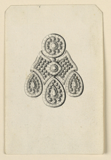 Jewelry design for an earring. Design scheme similar to 1938-88-826. The inside of the butterfly wings at center is filled with rows of disks without separating bands, upper disk with three drops below. Bevelled upper corners.