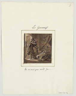 "Design for a painted porcelain plate, square format. Setting is a house interior with bed in niche, right background, and open door, left middleground. Figure of a husband, in doorway, arrives home from a trip and is greated by his wife and small dog.  He points to a cradle, center foreground, that holds two babies.  He exclaims to his wife, ""you did not tell me about that."""