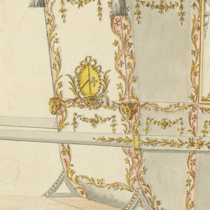 """Shown from the right rear corner with two bars. On top is a crown of an earl. From the upper corners hang tassels, at those in the height of the upper edge of the lower panels are ram heads. All the panels are decorated above with festoons. In the upper one of the back, below, are two conjoined coats of arms framed by garlands; right a bend sinister; left a Maltese cross. The window is divided into four panes by curved branches. Decoration of the bar and erasure similar to 1900-1-15. Written in the upper left corner with pencil: """"Lady AEB""""."""