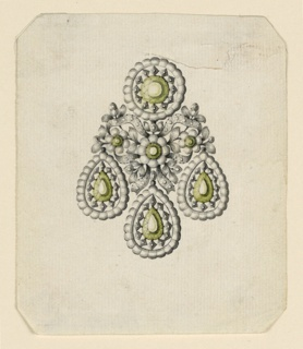 Jewelry design for an earring. The disk above and the three drops are connected by a knot of a single ribbon, interlaced with two flower branches, with a blossom in the center. The central diamonds in the disk, drops and blossom are green. Bevelled corners.