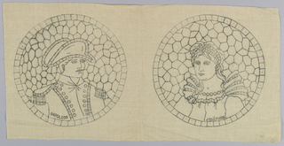 Printed pattern for cut fabric embroidery. Design is of two medallions; one of Napoleon, the other of Josephine.