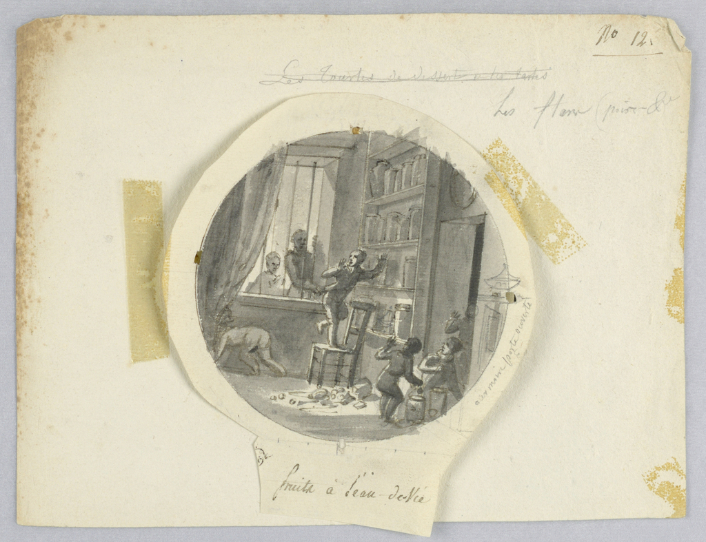 Design for a painted porcelain plate, rondel. Scene inside a liquor shop. A figure of a boy, center middleground, stands on a chair in front of shelves holding jars of fruits in plum liquor. He has just dropped some jars on the floor and is about to jump off the chair when he sees two people observing the mishap through a barred window, rear left.  Another child and a shop worker, in the lower right corner, turn around towards the boy to observe the unfortunate event.
