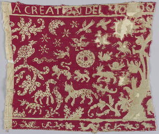"Background embroidered in red silk; animals, etc. ornamented with red dots. Top border reads ""A Creation del Mundo --"". At the left there is a narrow strip on white, the design is marked but not embroidered."