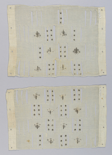 """Pair of sheer cotton rectangular sleeve pieces: """"b"""" is slightly deeper than """"a."""" Each has four rows of grouped slits outlined with fine whipped cord; delicately embroidered with black silk with butterflies in the spaces between the groups of slits, smaller insects on the bars between the slits themselves. Central area of sleeve-piece only filled with embroidery. Heavily sized; upper edge whipped; lower edge finely hemmed; sides with deeper border of coarser unsized cotton cloth, each with four small holes outlined with buttonhole stitch."""