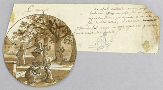 Design for a painted porcelain plate, rondel. Outdoor scene under a mulberry tree.  A figure of a woman holding a baset of mulberries, center middleground, admonishes a young girl who has gotten stains on her dress. A seated woman, center foreground, carefully feeds mulberries to a kneeling child. A child has climbed the tree to pick mulberries, two other children play beneath the tree. In the right margin of sheet, a graphite sketch of a child holding her dirty apron. Verso: a graphite sketch of a standing woman, her basket of mulberries on a stone wall, scolding a child with a dirty apron.