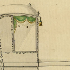 Shown from the rear right corner with two bars.  Urns stand upon, tassels hang from the corners of the roof.  Garlands frame the back and the lateral side, except above and below the window.  Horizontally disposed twigs divide these panels in the height below the lower window frame.  The monogram A R is above them at the back.