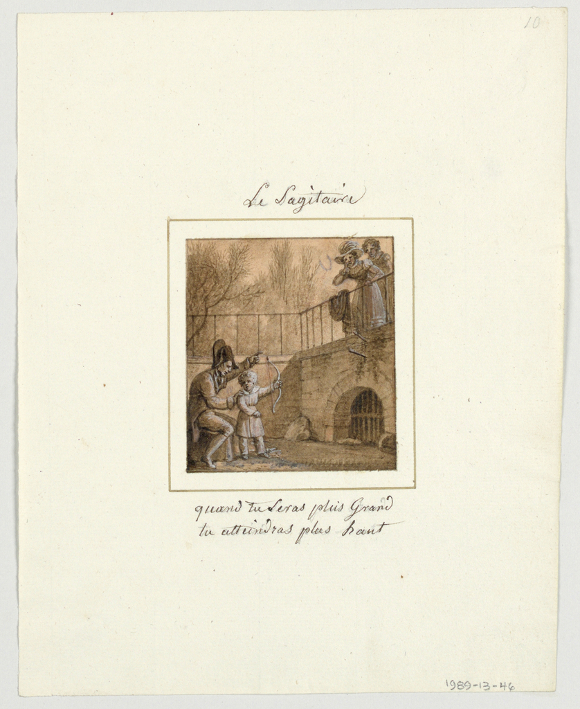 Design for a painted porcelain plate, square format. Scene in a walled garden.  Figure of a man, seated left foreground, is teaching a young child holding a bow, how to shoot.  Two arrows appear in the wall, right middleground, above semi-circular cave in wall.  Two women, right background, watch the archery lesson. The man tells the boy that he will shoot higher when he grows taller.