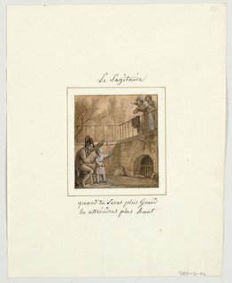 Drawing, Design for a Painted Porcelain Plate, Le Sagitaire (Sagittarius) from le Zodiaque Travesti (The Farcical Zodiac) Service