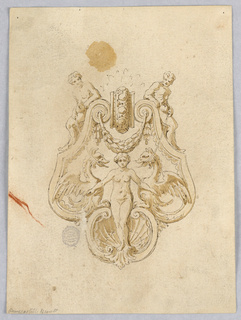 Design for a grotesque ornament. At top, a pair of ignudi. Below, a pair of dragons, a swag and a nude figure standing in a shell.