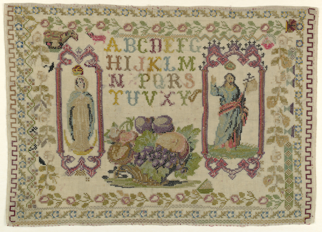 Alphabets, Virgin, and Christ in cartouches, large basket of fruit, and floral border.