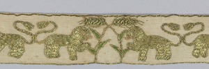 Narrow border of linen embroidered in gold with a pattern of confronted lions on either side of a plant.