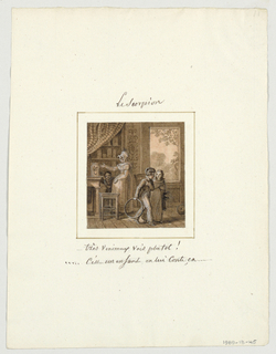 Design for a painted porcelain plate, square format. Scene inside a house.  Figure of a woman, left of center middleground, points out a jar holding a scorpion to a young boy to her right.  Behind them, left background, partially draped with a striped fabric, are shelves holding canisters. A young girl with boy holding a hoop in his right hand, right foreground, discuss the scorpion. A large window/door, right background, shows a view of trees.